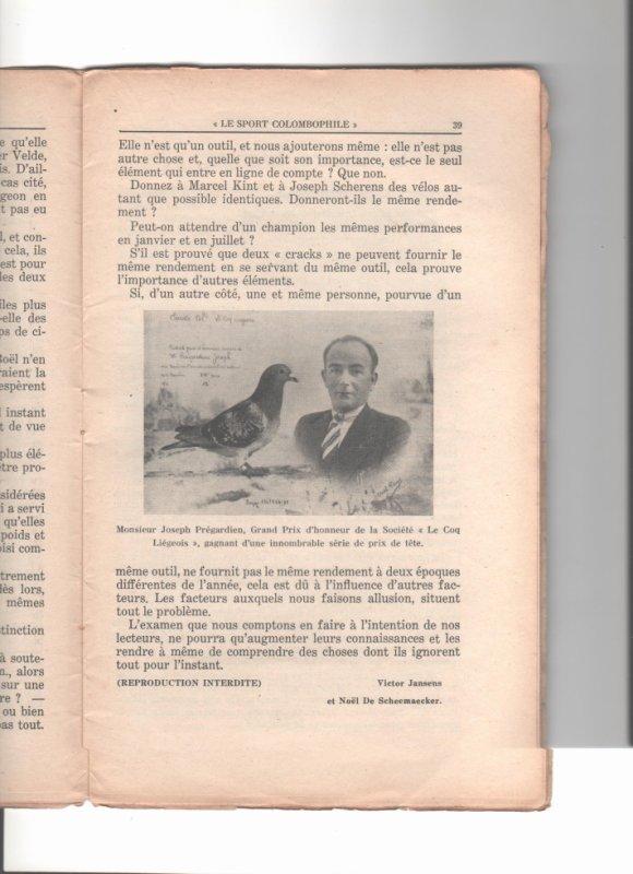 le Sport  Colombophile décembre 1938 ; l'aptitude au vol ( suite et fin )