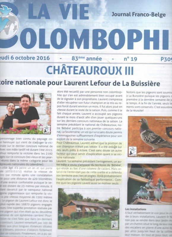 1 er prix chateuroux ( article tiré du journal auquel je suis abonné )