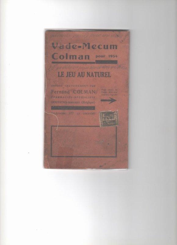 opuscule qui date de 1934 avec un timbre de 1933 ( avis au collector )