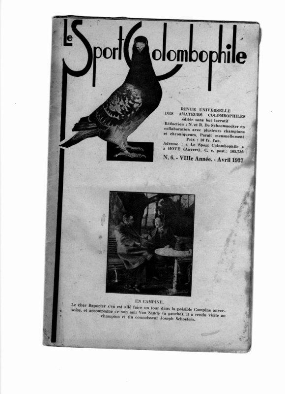revue  Le Sport Colombophile n° 6 - 8 °eme Année - AVRIL 1937