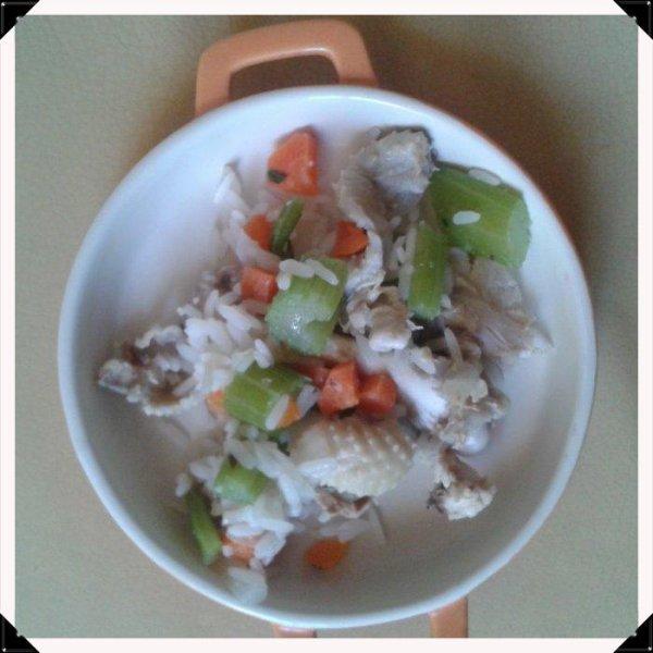 pot au feu ratoux (carcasse poulet, riz, céleri, carotte)