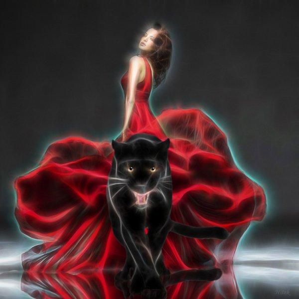 Femme en rouge et la panthere