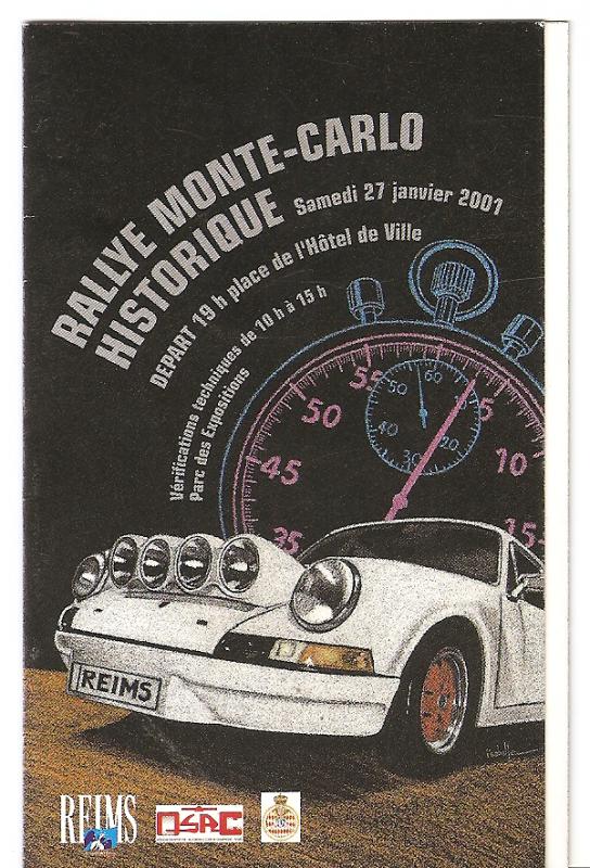 POUR ECHANGE - CALENDRIER RALLYE MONTE-CARLO HISTORIQUE 2001