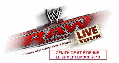 """L'affiche du """"house show"""" (WWE. RAW au Zenith à Saint Etienne du 14/04/2010)"""