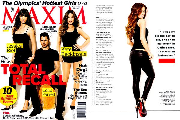 """.  Kate et ses co-stars du film """"Total Recall"""", Jessica Biel et Colin Farrell, font la une du magazine """"Maxim"""" ."""