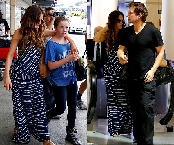 .  Le 22/07 : Kate et sa petite famille ont été aperçu à l'aéroport de LAX, à Los Angeles Notre Kate et son mari Len Wiseman étaient allés chercher Lily, qui revenait d'un séjour en France ! Côté tenue, c'est un BOF. .