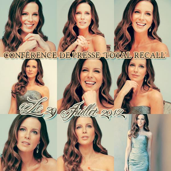 .  Le 29/07 : Kate s'est rendue à une Conférence de Presse pour le film 'Total Recall' La jeune femme est très belle et vraiment naturelle sur les photos, j'aime beaucoup son sourire.  :)  .