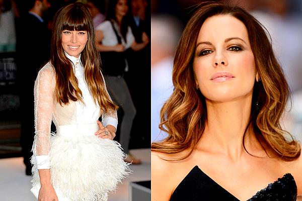 """. Le 16/08 : La belle Kate Beckinsale était à la première londonienne du film """"Total Recall"""" avec toute l'équipe Je crois que cette robe est l'une de mes préférées, Kate est absolument sublime dedans et j'aime beaucoup sa coiffure ainsi que son make-up. ♥ En revanche, cette fois-ci j'aime moins celle de Jess', bien qu'elle ait le mérite d'être originale.   ."""