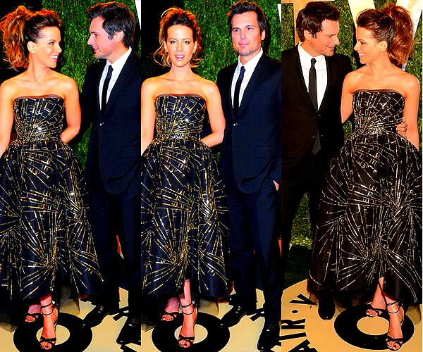 .  Le 24/02 : Kate & Len se sont rendus à l'after-party des Oscars organisée par Vanity Fair, à West Hollywood .  Même si Miss Beckinsale a déjà fait mieux au niveau tenue, je trouve cette robe originale et bien portée ! De plus, Kate est toujous aussi ravissante les cheveux relevés et son make-up est parfait, comme à son habitude. C'est donc encore un TOP. ;)   .