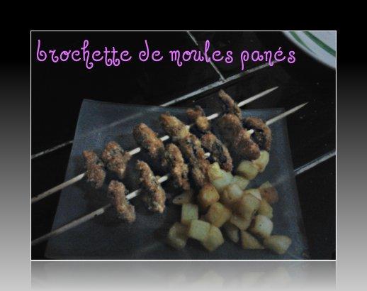 brochettes de moules panés