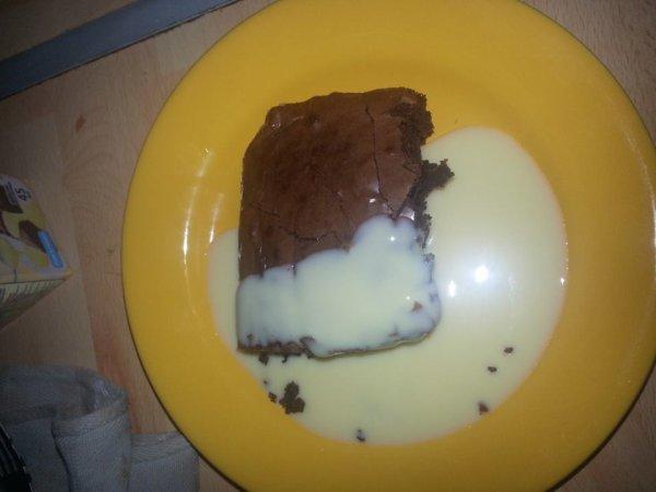 brownies et creme anglaise