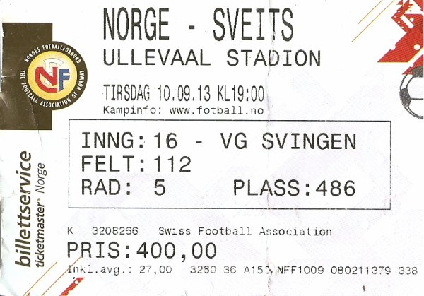 Norvège-Suisse 0-2: Ullevaal Stadium, Oslo, le 10 septembre 2013