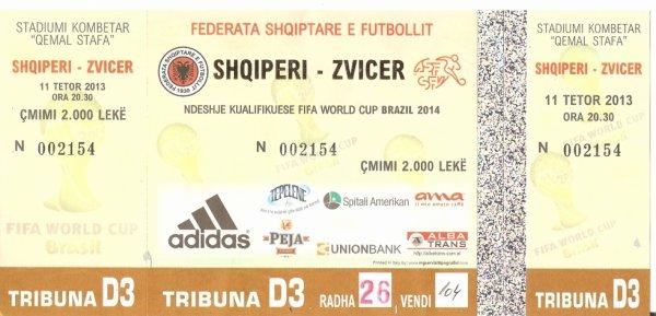 Albanie-Suisse 1-2: Qemal Stafa, Tirana. Le 11 octobre 2013