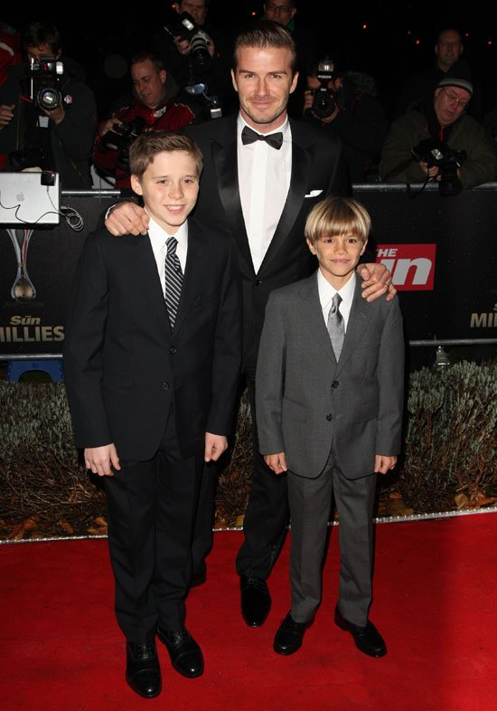 David Beckham And Sons At The Sun Military Awards