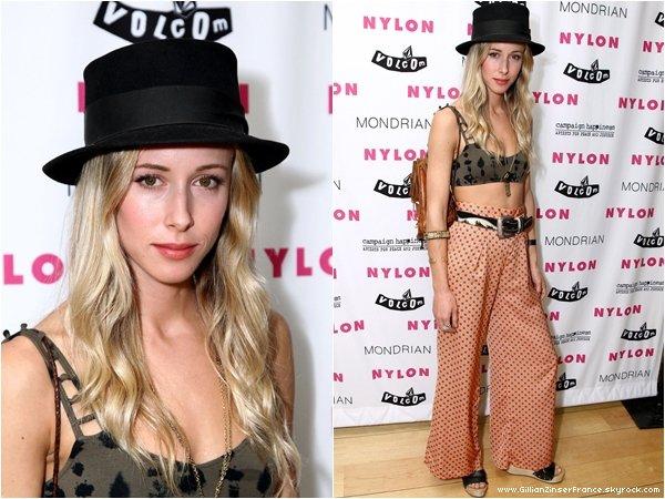 27 juillet : Gillian à la soirée Nylon+Volcom animée par son amie Olivia Wilde.