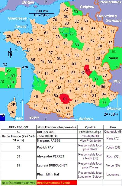 """Représentation géographique de l'association """"LEDD"""""""