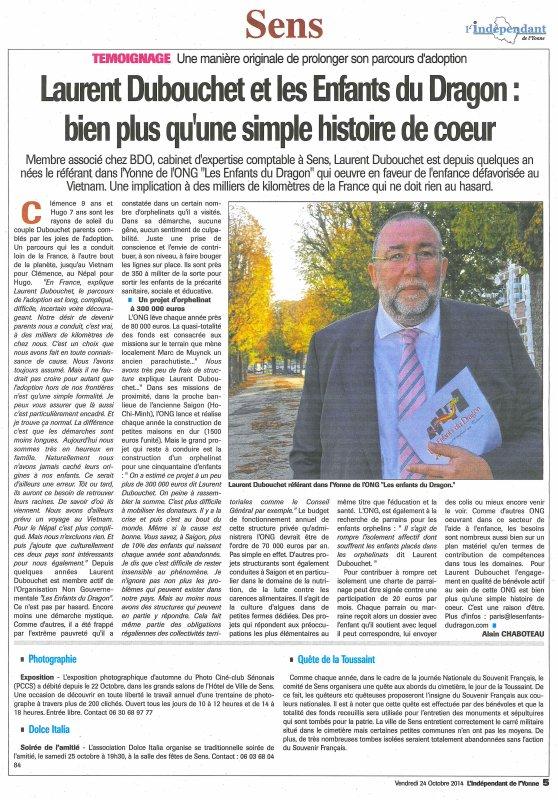Paru dans la presse - Octobre 2014