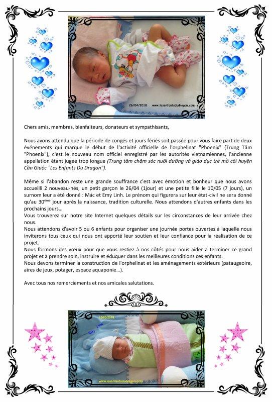 Arrivée du 2ème bébé à l'orphelinat PHOENIX