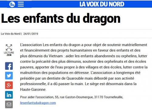 """Paru dans la presse - """"La Voix Du Nord"""""""