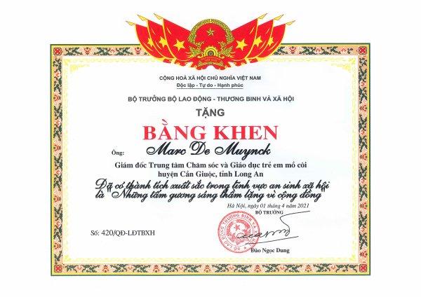 Récompense Ministérielle au Vietnam