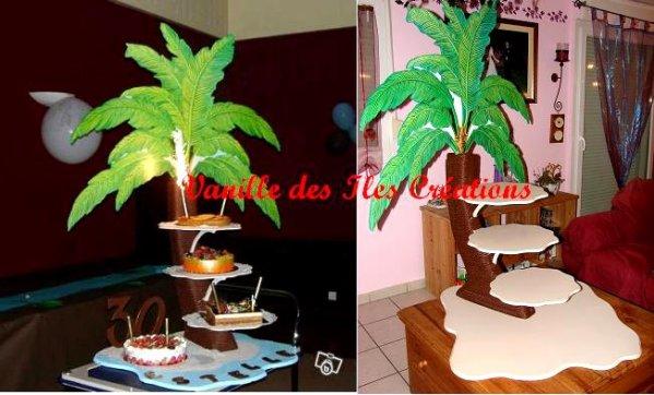 Présentoir gateaux cocotier thème des îles