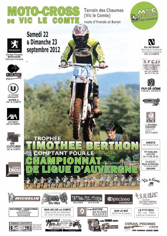 5ème Edition du Trophée Timo le 22 et 23 septembre. Vic le Comte