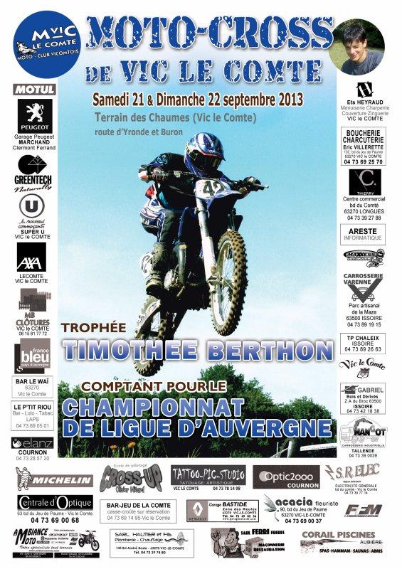 6ème Trophée Timothée Berthon - 21 et 22 septembre Vic le Comte