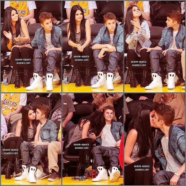 ..  17 avril : Selena Gomez & Justin Bieber se sont rendus au match des Lakers contre les Spurs.  ..
