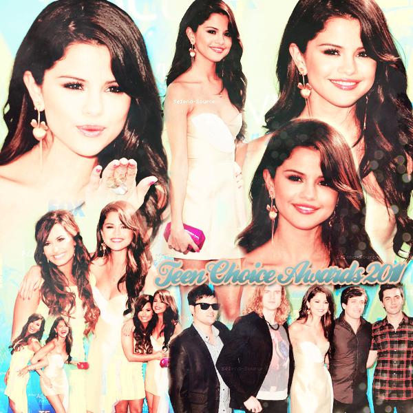 ..   Dimanche 7 août : Selly était présente à la cérémonie annuelle des « Teen Choice Awards » ..     Elle a remporté 5 awards sur les 9 catégories où elle était nominée + Nous pouvons l'apercevoir avec Demi Lovato (Delena is back !) et bien évidemment avec Justin ;p + Selena & The Scene ont interprété la chanson « Love You Like A Love Song »    ..