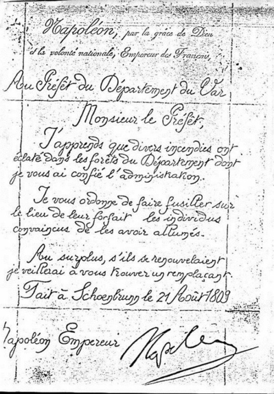 Lettre de Napoléon au Préfet du Var