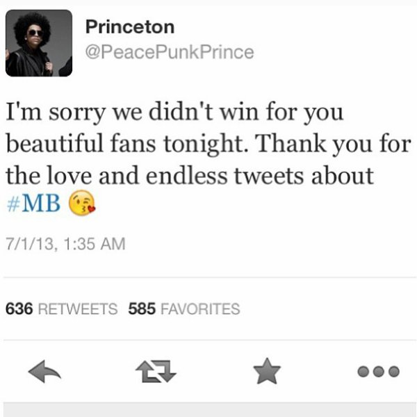 Princeton a Tweeter le soir après les BET Award...