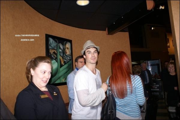 """. CANDID - 19 mars 2011   Ian s'est rendu, en compagnie de Nina à l'avant première de """"Last Lion"""".."""