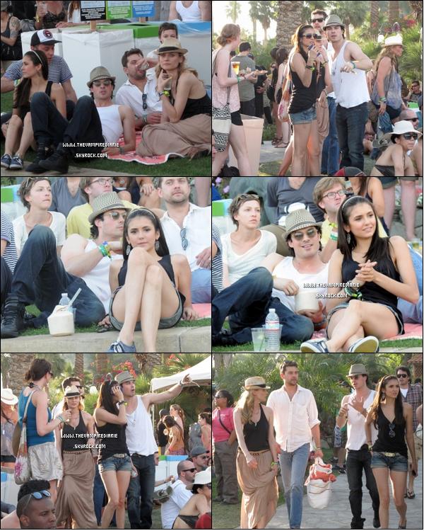 . CANDID - 16 avril 2011 | Nina & Ian étaient tous deux présents au festival de musique Coachella en compagnie du couple Joshua Jackson & Diane Kruger. Une sortie juste entre amis ou une double rencard ?.