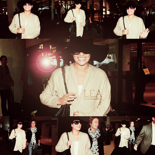 CANDIDS  DU 02/10/2011:Lea a était vu à l'aéroport de LAX.Lea aime son chapeau !