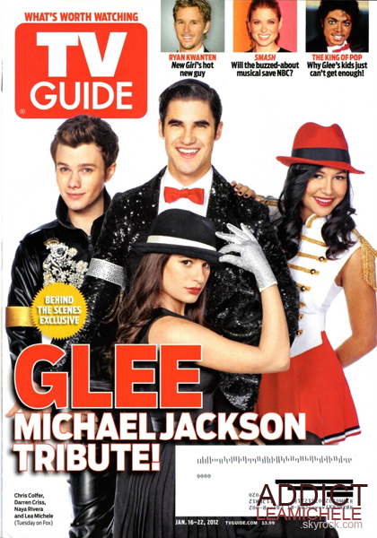 COUVERTURE:Lea Michele, Darren Criss, Naya Rivera et Chris Colfer font la couverture du magazine Tv Guide spécial Michael Jackson.