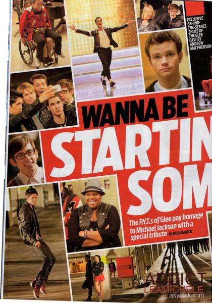 COUVERTURE:Lea Michele, Darren Criss, Naya Rivera et Chris Colfer font la couverture du magazine Tv Guide spécial Michael Jackson.