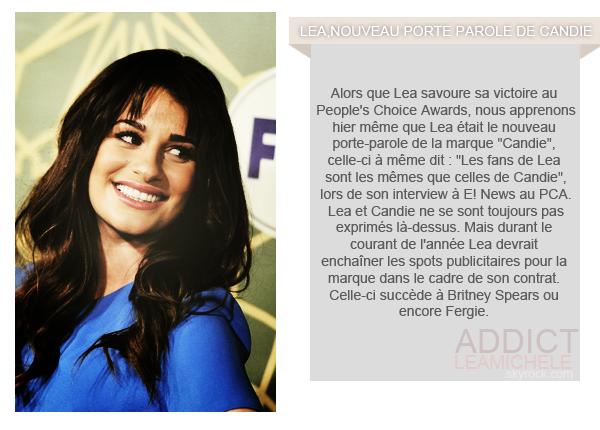 RUMEURS/INFOS:Lea Michele nouveau porte-parole de Candie.
