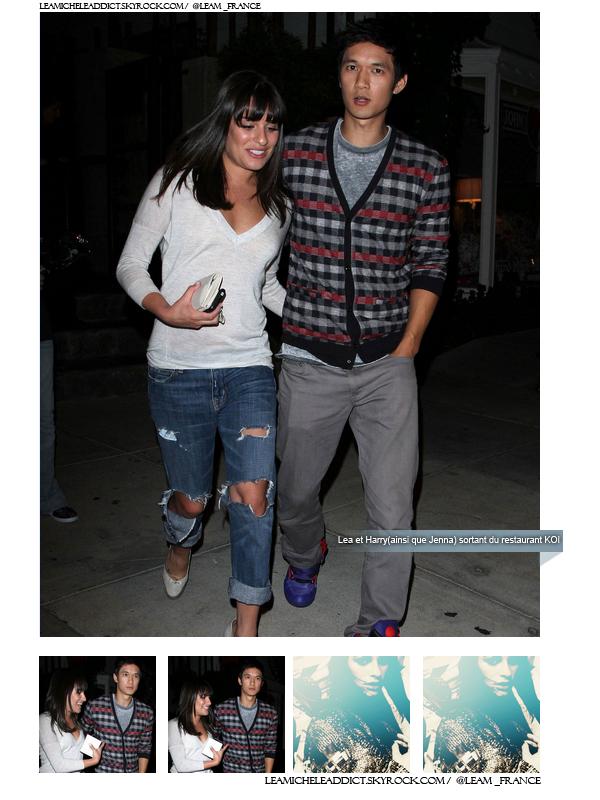 FLASHBACK du 8/09/2010:Lea ainsi que Harry et Jenna ont été vu sortant du restaurant KOI.