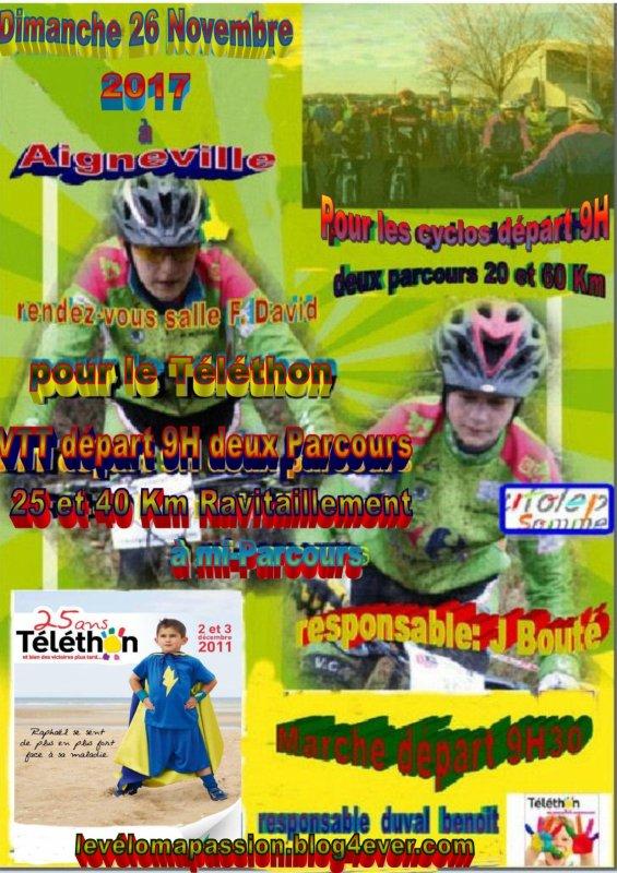 Téléthon d'Aigneville (80)  Cyclo -V.T.T - Marche  dimanche 26 novembre 2017