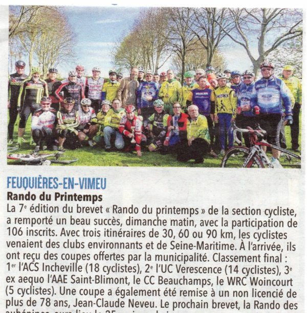 7éme édition de la randonnée du Printemps à Feuquières en Vimeu dimanche 15 Avril 2018