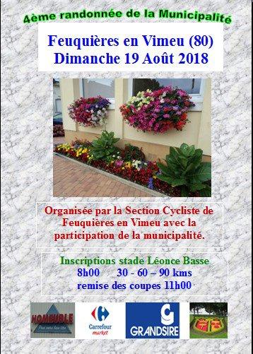 Brevet de la Municipalité de Feuquières en Vimeu (80) UFOLEP dimanche 19 août 2018