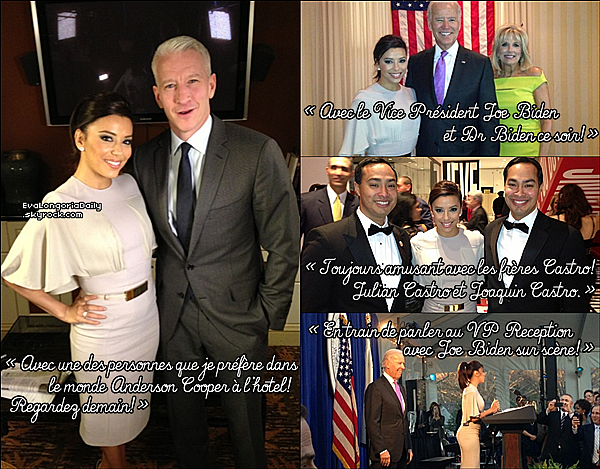 • 2o Janvier 2o13 •  - Washington, Etats-Unis. ⭐ Le soir, Eva est allée au « Latino Inaugural 2013 » qui avait lieu au « Kennedy Center ».  Tenue: Robe Vivienne Westwood à 16oo¤ & Escarpins Brian Atwood à 735¤.