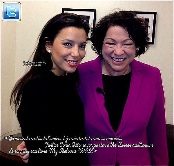 • 18 Janvier 2o13 •  - Washington, Etats-Unis. 📷 Puis, Eva est allée au « Lisner Auditorium » pour la lancement du livre de Sonia Sotomayor.