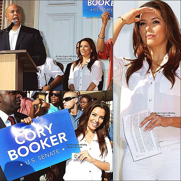 • 12 Août 2o13 •  - Newark, Etats-Unis. ⭐ Eva a participé au « Newark Mayor Rally ».  Tenue: Ceinture Hermès à 84o¤, Pantalon Henry&Belle à 1o5¤ & Escarpins Valentino Rossi à 1o9o¤.