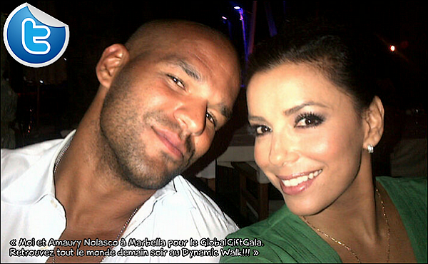• 17 Août 2o12 •  - Marbella, Espagne. 🎉 Eva & Amaury Nolasco sont allés au « Nikki Beach Nightclub ».  Tenue: Combinaison Pixie Market, Pochette Rafe Sasha & Escarpins Brian Atwood à 136o¤.