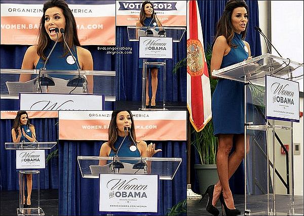 🎤 Eva était au Miami Dade College pour le America Women's Summit pour la Campagne de Barack Obama. o4 Août 2012. Miami - Etats-Unis. Tenue: Eva porte une Robe Naven à 380¤ & des Escarpins Brian Atwood à 700¤.