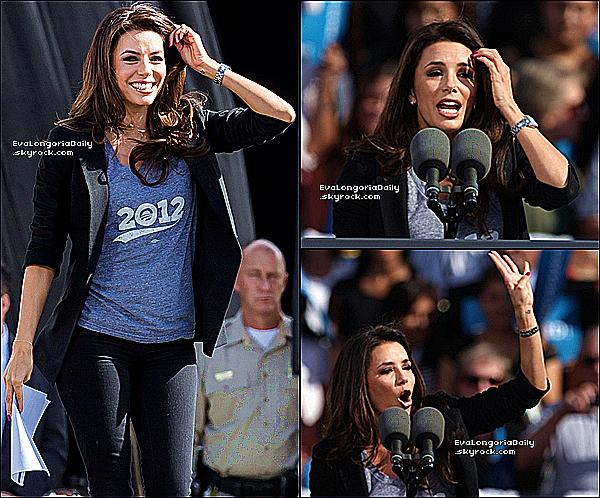 🎤 Eva est allée au Cheyenne Sports Complex pour la Campagne Présidentielle de Barack Obama. 1er Novembre 2012. Las Vegas - Etats-Unis. Tenue: Eva porte une Veste Elizabeth and James  à 150¤ & un Jeans Henry&Belle.