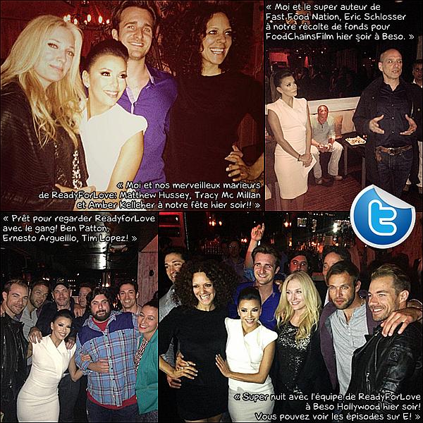 • 23 Avril 2o13 •  - Hollywood, Etats-Unis. 🍴 Eva & Ernesto sont allés dîner au « Beso Restaurant ».  Tenue: Robe Antonio Berardi à 14oo¤, Pochette Yves Saint Laurent à 66o¤ & Escarpins Brian Atwood à 6o5¤.