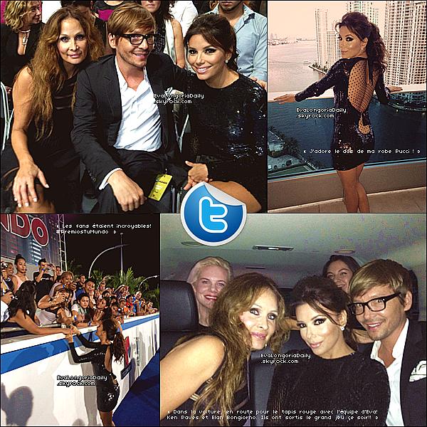 • 13 Août 2o13 •  - Miami, Etats-Unis. ⭐ Eva est allée au « Telemundo's Premios » qui se déroulait au « American Airlines Arena ».  Tenue: Robe Emilio Pucci & Escarpins Christian Louboutin à 67o¤.