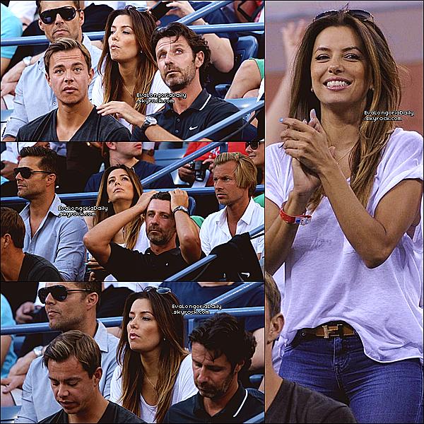 🎾 Eva & Ricky Martin sont allés voir un match de Serena Williams durant L'US Open.  o8 Septembre 2013. New-York - Etats-Unis. Tenue: Eva porte une Ceinture Hermès à 840¤ & des Escarpins Christian Louboutin à 475¤.